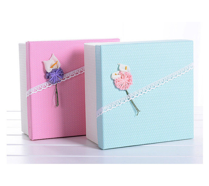 Square Custom Printed Gift Boxes With Lid Ribbon / Try Flower