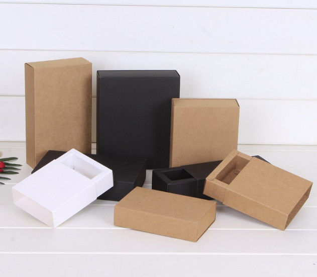 Brown Foldable Gift Boxes , Colored Kraft Boxes For Cosmetic Products