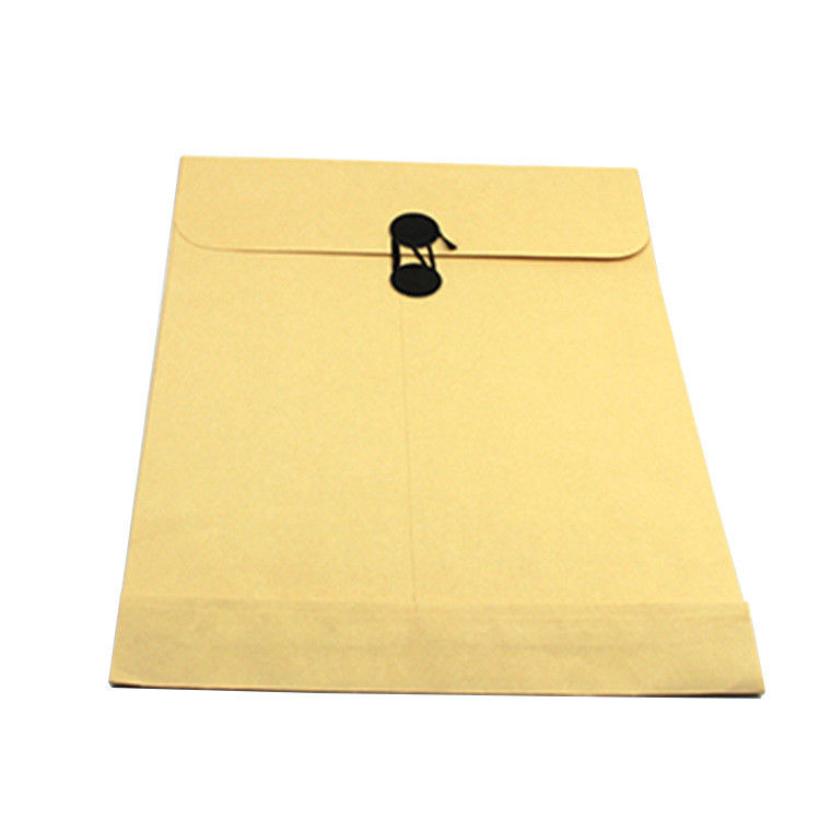 Printed Paper File Bag Packaging Paper Envelope With Button / String